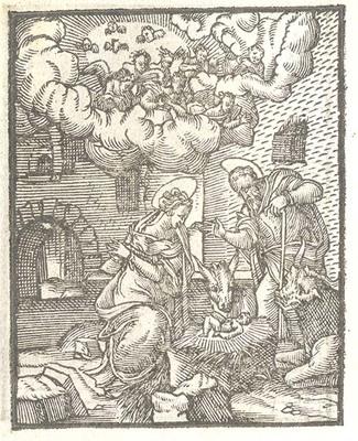Figvres dv Novveav Testament. Lyon, France, 1582. Detail of the Nativity Scene