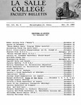 Faculty Bulletin: November 15, 1960
