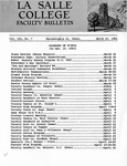 Faculty Bulletin: March 15, 1961