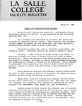 Faculty Bulletin: March 10, 1966