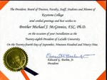 Congratulatory Letter from Keystone College to President Brother Michael J. McGinniss